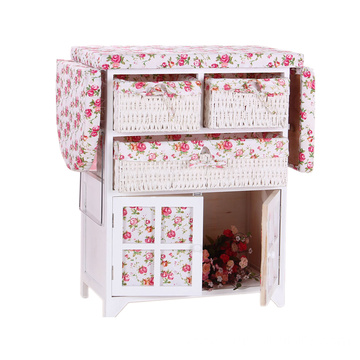 ironing board table wooden cabinet with storage wicker drawer